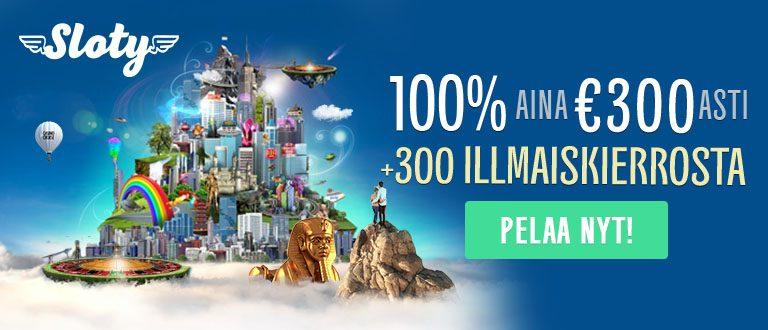 Slotyn bonus on huikea: saat 100% aina 300 euron asti + 300 ilmaiskierrosta! Pelaa nyt!