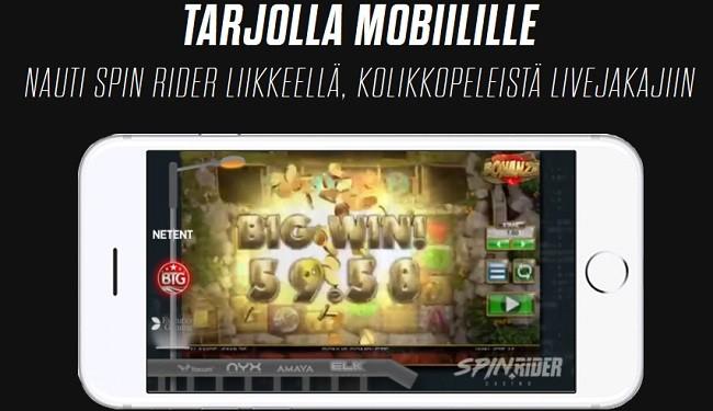 Spin Rider kasino toimii täydellisesti mobiililaitteilla