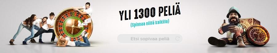 SpinIt tarjoaa jopa yli 1300 peliä eli sen valikoima on suorastaan mieletön