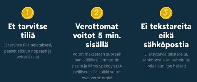 Ei tiliä, ei rekisteröitymistä ja verottomat nopeat jopa 5 minuutin voittokotiutukset ovat Speedyn tavaramerkkejä.