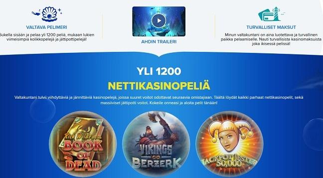 Ahti Games kasinon pelivalikoima on huikea. Suomalaisille suunnattu sinivalkoinen kasino on villi seikkailu, josta ei kukaan jää varmasti kylmäksi