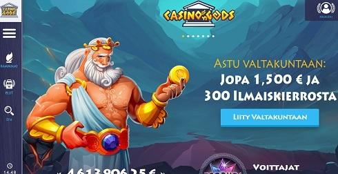 Casino Gods toivottaa pelaajat tervetulleeksi valtakuntaan tarjoten 1500 euron bonus -paketin ja 300 ilmaiskierrosta
