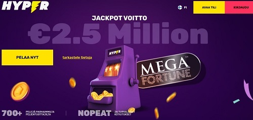 Hyper Casino on pirteä ja siellä pelaaminen miellyttää silmää ja aivoja